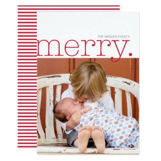 Tipo alegre vermelho cartão com fotos do feriado convite 12.7 x 17.78cm