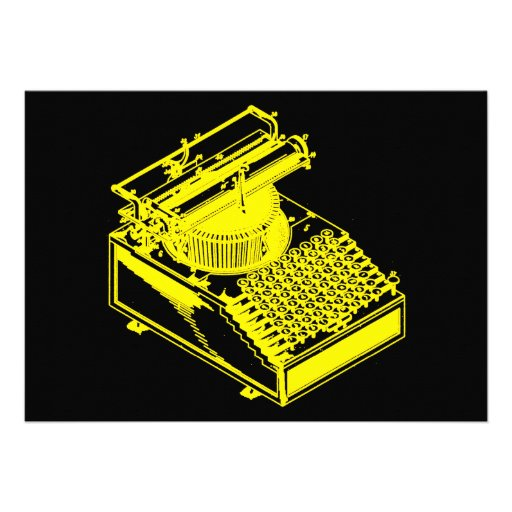 Tipo amarelo máquina da escrita convite personalizados