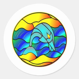 Tipo golfinho do vitral adesivos em formato redondos