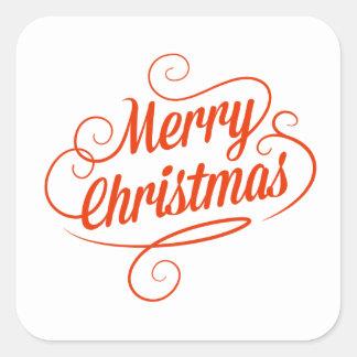 Tipografia alegre vermelha do Feliz Natal Adesivo Quadrado