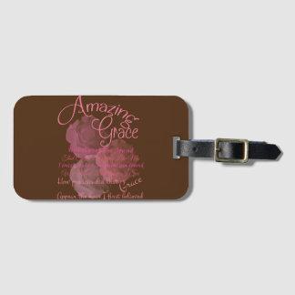 Tipografia bonita do rosa do rosa da benevolência etiqueta de bagagem