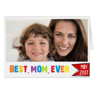 Tipografia colorida do melhor cartão com fotos da