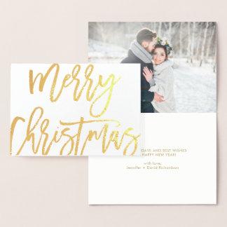 Tipografia corajosa do Feliz Natal do roteiro com Cartão Metalizado