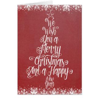 tipografia da árvore de Natal do cartão do Feliz