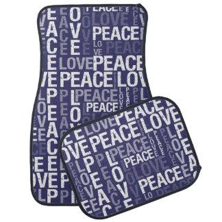 Tipografia da paz do amor tapete automotivo