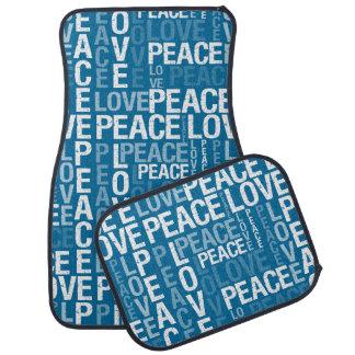 Tipografia da paz do amor tapete de carro