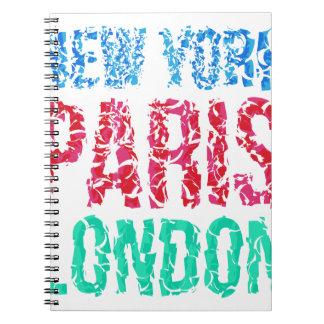 Tipografia de New York Paris Londres da capital, Caderno