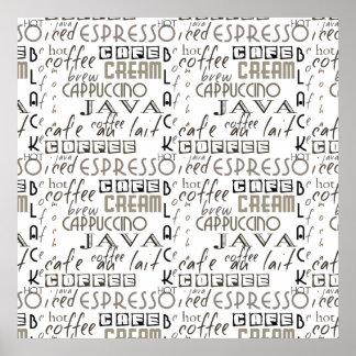 Tipografia do café pôster