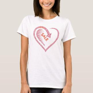 Tipografia do coração da venda camiseta