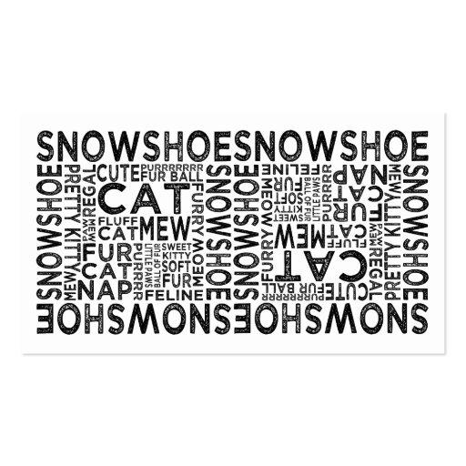 Tipografia do gato do sapato de neve cartoes de visita
