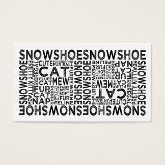 Tipografia do gato do sapato de neve cartão de visitas