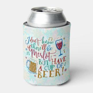 Tipografia engraçada do humor da cerveja do vinho porta-lata