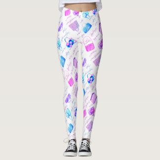 Tipografia floral azul cor-de-rosa roxa das legging