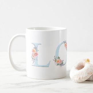 Caneca De Café Tipografia floral Pastel do alfabeto da caneca do