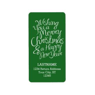 Tipografia lunática por o Natal e o ano novo Etiqueta De Endereço