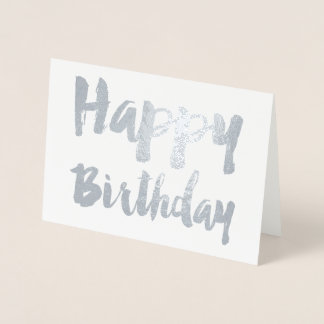 Tipografia moderna do feliz aniversario de folha cartão metalizado