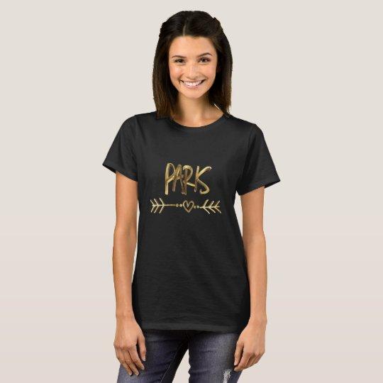 Tipografia preta do olhar do ouro de Paris France Camiseta