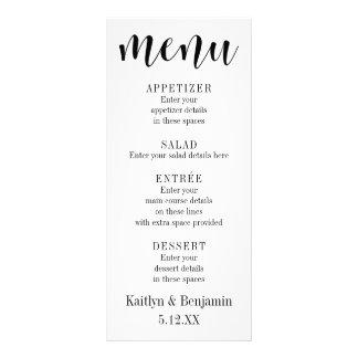 Tipografia preta simples no menu branco do