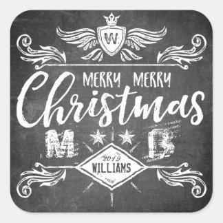Tipografia retro do Feliz Natal do quadro do Adesivo Quadrado