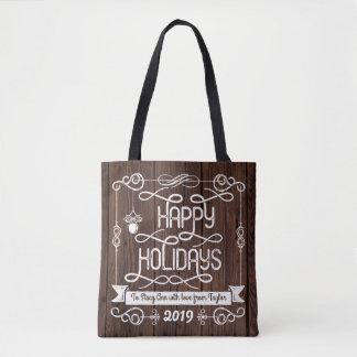 Tipografia rústica do Natal da madeira boas festas Bolsa Tote