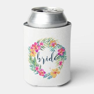 Tipografia tropical colorida da noiva da grinalda porta-lata
