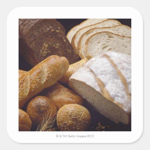 Tipos diferentes de pão do artesão adesivo quadrado