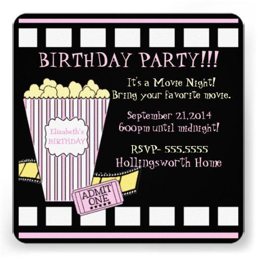 Tira-Aniversário do filme da Noite-Pipoca do filme Convite Personalizado