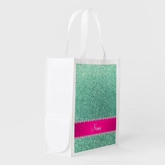 Tira conhecida personalizada do rosa do brilho do sacolas ecológicas