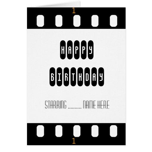 Tira do filme da estrela de cinema com o cartão de