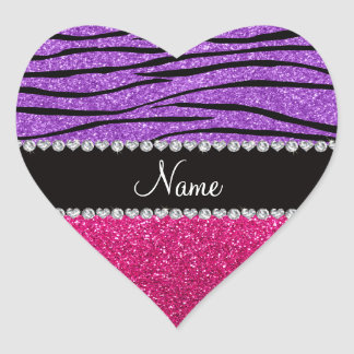 Tira roxa pastel da zebra do brilho cor-de-rosa adesivo coração