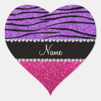 Tira roxa pastel da zebra do brilho cor-de-rosa co adesivo em forma de coração