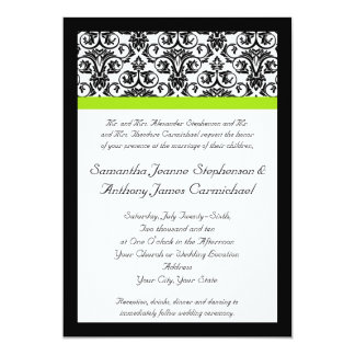 Tira verde preta/branca do acento do damasco convite personalizados