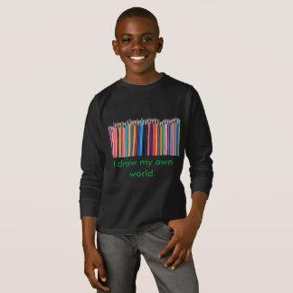 Tire seu mundo! T-shirt longo da luva dos miúdos Camiseta