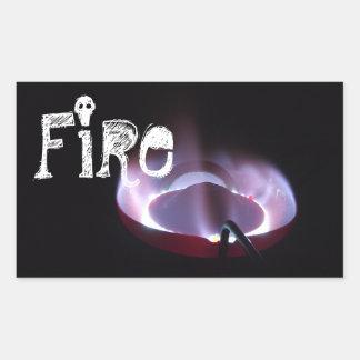 Tiro da chama do fogão do querosene adesivo retangular