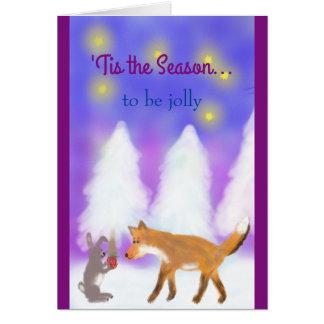 'Tis a estação a ser alegre! O Fox e os Hare. Cartão Comemorativo