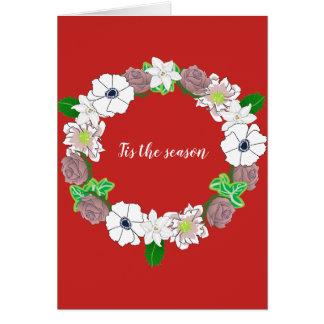 Tis a estação. Cartão de Natal que caracteriza uma