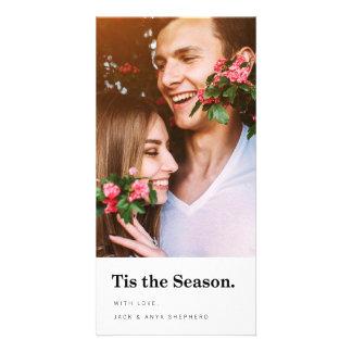 Tis o cartão com fotos moderno do feriado da cartão com foto