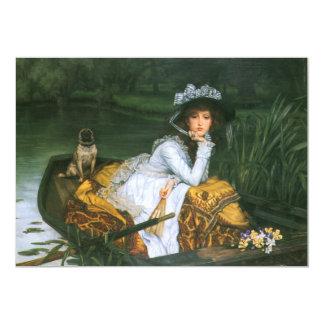 Tissot: Jovem senhora em um barco Convite 12.7 X 17.78cm