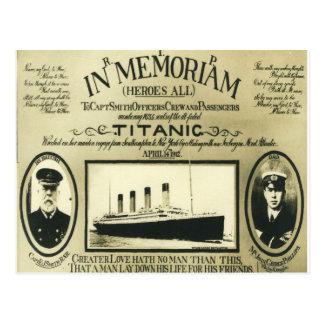 Titânico no cartão de Memoriam
