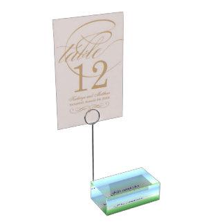 Titular do cartão azul da mesa do verde espanhol suportes para cartao de mesa