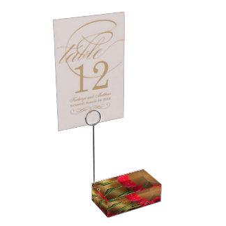 Titular do cartão vermelho das tulipas suporte para cartao de mesa
