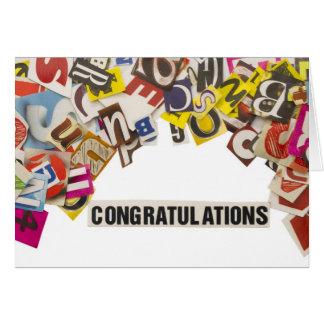 título das felicitações feito das letras do compar cartão comemorativo
