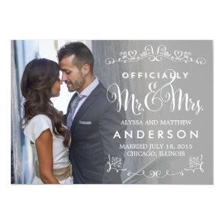 Títulos oficiais que Wedding o anúncio - cinza Convite 12.7 X 17.78cm