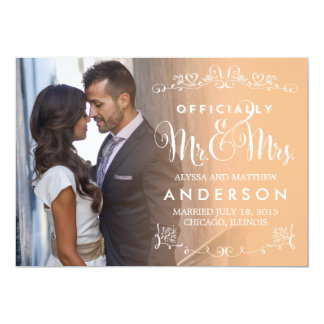 Títulos oficiais que Wedding o anúncio - pêssego Convite 12.7 X 17.78cm