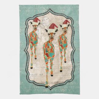 Toalha Azure & ambarina festiva dos girafas