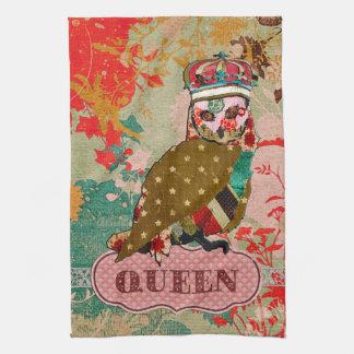 Toalha cor-de-rosa de Boho da coruja da rainha
