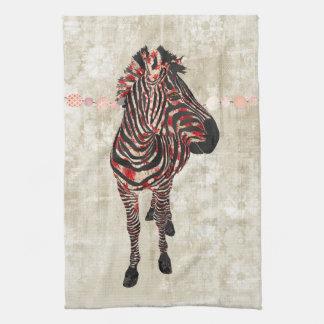 Toalha cor-de-rosa do branco da zebra
