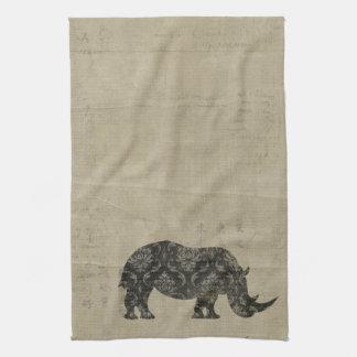 Toalha da silhueta dos rinocerontes pretos do vint