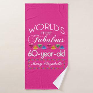 Toalha De Banho 60th Aniversário a maioria de rosa colorido
