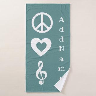 Toalha De Banho A paz da cerceta, amor, música personalizou a